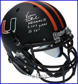 Vinny Testaverde Miami Hurricanes Signed Matte Authentic Helmet & Insc 1/14