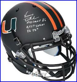 Vinny Testaverde Miami Hurricanes Signed Matte Authentic Helmet & Insc 14/14