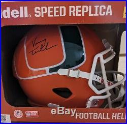Vinny Testaverde Signed Full Size Miami Hurricanes AMP Speed Helmet -SCHWARTZ