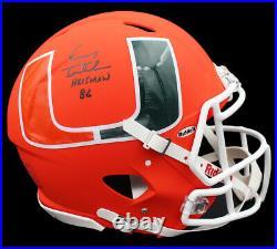Vinny Testaverde Signed Hurricanes Speed Authentic AMP Helmet Heisman 86