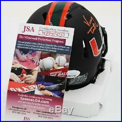 Vinny Testaverde Signed Miami Hurricanes Matte Black Speed Mini Helmet (JSA COA)