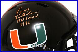 Vinny Testaverde Signed Miami Hurricanes Speed Replica Helmet Heisman JSA 27631
