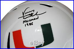 Vinny Testaverde Signed Miami Hurricanes White Replica Helmet Heisman JSA 27632