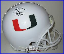 Vinny Testeverde Autographed Miami Hurricanes Helmet, signed w 86 Heisman. PSA