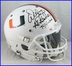 Warren Sapp Signed F/S Miami Hurricanes White Helmet With 2 Insc- JSA W Auth Blk
