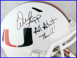Warren Sapp Signed F/S Miami Hurricanes White Speed Helmet With Insc- Beckett Auth